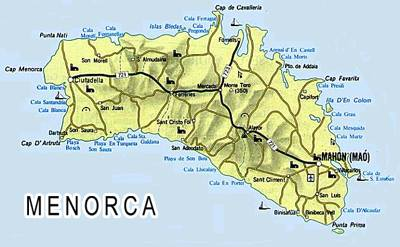 Map of Menorca